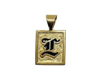 Hawaiian Heirloom Jewelry Custom 14K Yellow Gold Raised Enamel Initial Square Pendant from Maui, Hawaii