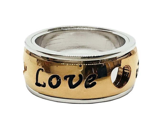 Spinner Ring Faith Love Hope Stainless Steel Spin Ring from Maui, Hawaii