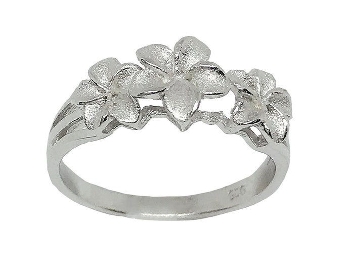 Hawaiian Jewelry Three Plumeria Flower Ring Sterling Silver Jewelry from Maui, Hawaii