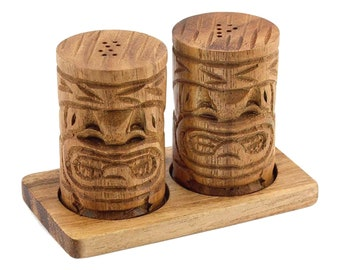 Hawaiian Tiki God Hand Carved Kamani Wood Salt & Pepper Shaker Set from Maui, Hawaii