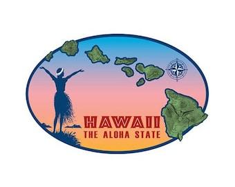 Hawaiian Island Chain Sticker Decal from Maui, Hawaii