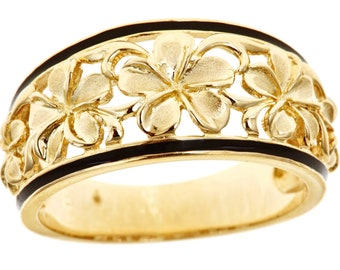 Hawaiian Heirloom Jewelry 14k Yellow Gold Cut Out 5 Plumeria 10mm Tapered Ring from Maui, Hawaii