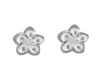Sterling Silver Hawaiian Plumeria Flower Pierced Hawaiian Jewelry Earrings from Maui, Hawaii