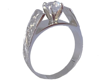 Hawaiian Heirloom Jewelry 6mm 14k White Gold Cubic Zirconia 1/2 CT French Mount Ring from Maui, Hawaii