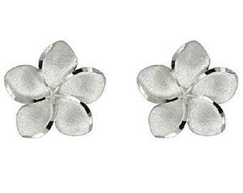 Hawaiian Heirloom Jewelry 14 Karat White Gold Plumeria Flower XL 18mm Earrings from Maui, Hawaii
