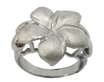 Hawaiian Heirloom Jewelry XL Single Plumeria Flower Ring Sterling Silver Jewelry from Maui, Hawaii