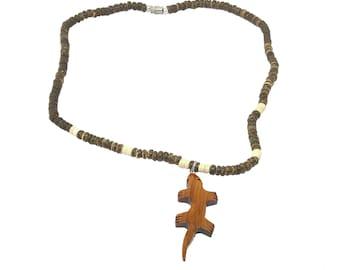 Hawaiian Jewelry Handmade Hawaiian Koa Wood Gecko Coconut Bead Pendant From Maui Hawaii