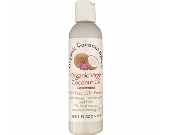 Organic Unscented Virgin Coconut Oil Pure-Cold Pressed 6oz. Plumeria for Skin & Hair from Maui, Hawaii