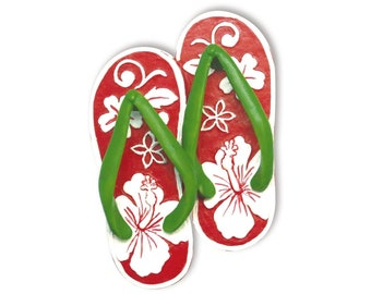 Hawaiian Christmas Flip Flop Slipper Red Hibiscus Flower Hand Painted Ornament from Maui, Hawaii
