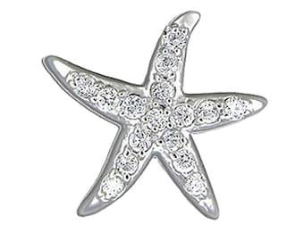 Hawaiian Jewelry Starfish Solid 92.5 Sterling Silver CZ Pendant from Maui, Hawaii