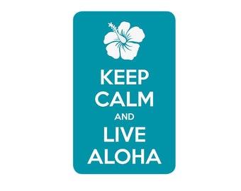 Hawaiian Decorative Sticker Decal Keep Calm and Live Aloha from Maui, Hawaii