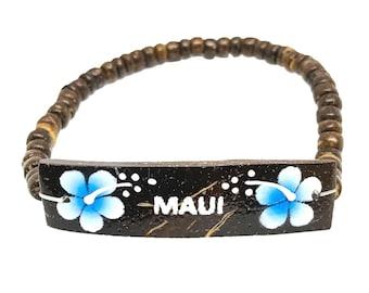 Hawaiian Jewelry Handmade Hibiscus Flower Maui Elastic Coconut Bead Bracelet from Maui, Hawaii