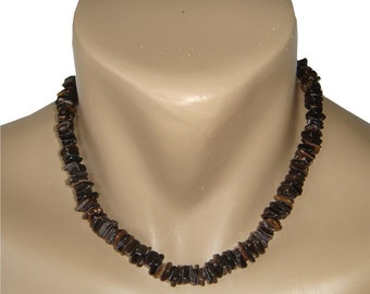 Hawaiian Jewelry Handmade Black/Dark Chip Shell Choker Necklace from Maui, Hawaii