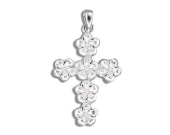 Hawaiian Jewelry Sterling Silver Plumeria Flower Cross Pendant from Maui, Hawaii