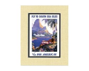 Hawaii Vintage Art Print - Pan American Fly to South Sea Isles from Maui, Hawaii