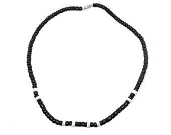 Hawaiian Jewelry Smooth Hawaii Puka Shell and Black Coconut Bead Necklace from Maui, Hawaii