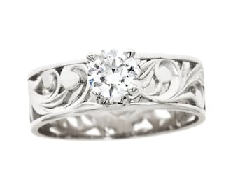 Hawaiian Heirloom Jewelry 14k White Gold Cubic Zirconia 0.5CT Cut out Flat 6mm Ring from Maui, Hawaii