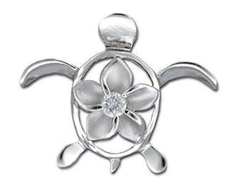 Hawaiian Jewelry Honu Sea Turtle Solid 92.5 Sterling Silver CZ Pendant from Maui, Hawaii