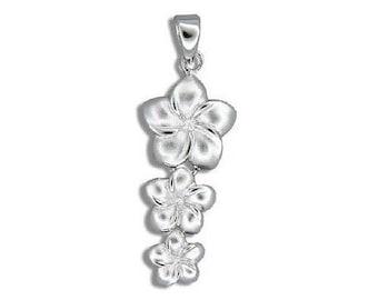 Hawaiian Heirloom Jewelry Sterling Silver 3 Plumeria Flower Dangling Pendant from Maui, Hawaii