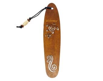 Hawaiian Laser Engraved Koa Wood Honu Sea Turtle Bookmark From from Maui, Hawaii