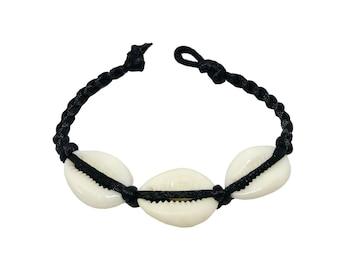 Hawaiian Natural Three Cowrie Shell Handmade Bracelet with Black Cord from Maui, Hawaii