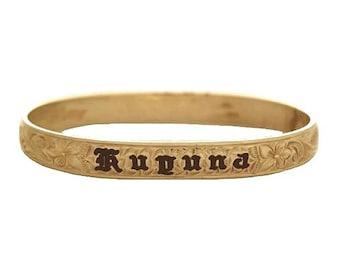 Hawaiian Heirloom Jewelry 14K Yellow Gold Custom 6mm Baby Child Bangle Bracelet with YOUR Name