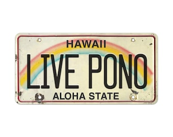 6in x 12in Vintage Hawaiian Embossed License Plate - Live Pono