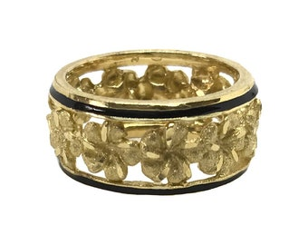 Hawaiian Heirloom Jewelry 14k Yellow Gold Cut Out Lei Ring with Black Borders from Maui, Hawaii