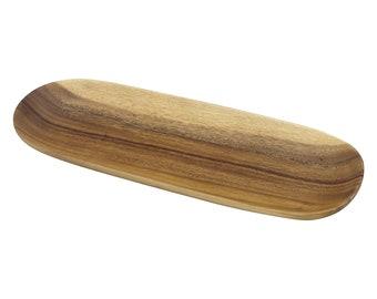 Hawaiian Handmade Acacia Wood Oval Baguette Serving Tray from Maui, Hawaii