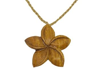 Hawaiian Jewelry Handmade Hawaiian Koa Wood Plumeria Flower Necklace From Maui Hawaii