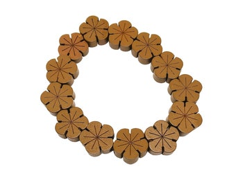 Hawaiian Jewelry Handmade Wood Plumeria Flower Elastic Bracelet from Maui, Hawaii