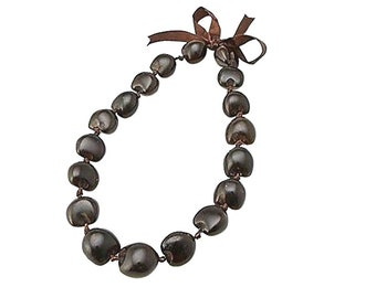 Hawaiian Jewelry Brown Kukui Nut Choker Necklace From Maui Hawaii