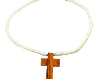 Hawaiian Jewelry Hand Carved Wood Cross with Heishi Smooth Puka Shell Necklace From Maui Hawaii