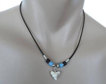 Small Hawaiian BLUE Bead Shark Tooth Hawaii Necklace From Maui Hawaii