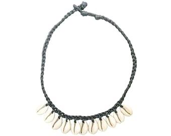 "Hawaiian Jewelry Cowry Shell Necklace Black 16""-19"" Choker Necklace from Maui, Hawaii"