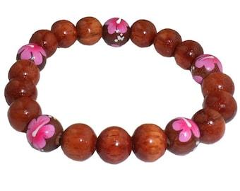 Hawaiian Jewelry Handmade Hawaiian Koa Wood Pink Flower Large Bead Bracelet from Maui, Hawaii