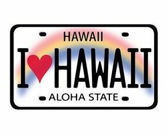 I Love Hawaii License Plate Car Decal Bumper Sticker from Maui, Hawaii