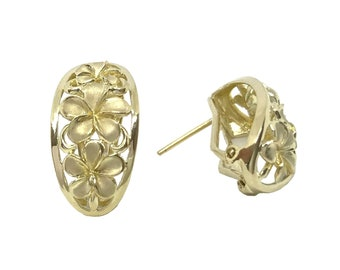 Hawaiian Heirloom Jewelry 14K Gold Three Cut Out Plumeria Flower Leverback Earrings from Maui, Hawaii