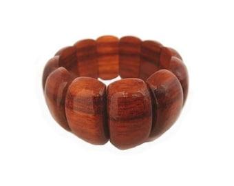 Hawaiian Jewelry Handmade Hawaiian Koa Wood 30mm Block Elastic Bracelet from Maui, Hawaii