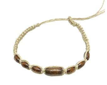 Hawaii Hemp Handmade Bracelet or Anklet with Hawaiian Koa Wood Beads