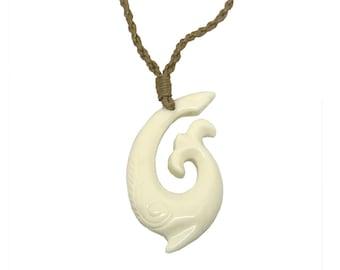 Hawaiian Jewelry Kahuna Bone Fish Hook Hand Carved Pendant Necklace From Maui Hawaii