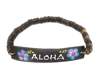 Hawaiian Jewelry Handmade Hibiscus Flower ALOHA Elastic Coconut Bead Bracelet from Maui, Hawaii