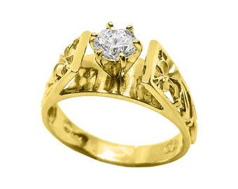 Hawaiian Heirloom Jewelry 14k Yellow Gold 3/4 Carat Cubic Zirconia Wedding Engagement Ring