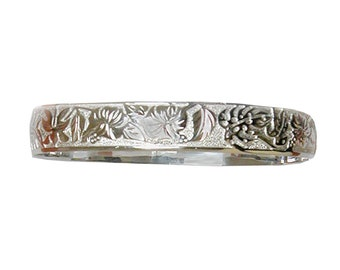 Hawaiian Heirloom Jewelry Sterling Silver 12mm Flower Design Bangle Bracelet from Maui, Hawaii