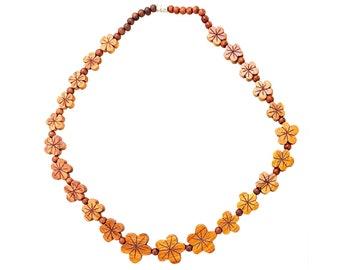 Hawaiian Jewelry Graduated Plumeria Flower Koa Wood Necklace Necklace From Maui Hawaii