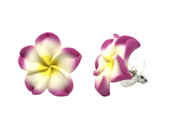 Hawaiian Jewelry Handmade Poly Clay Fimo PINK Plumeria Flower Stud Pierce Earrings From Maui Hawaii