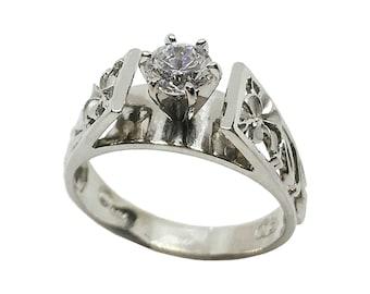 Hawaiian Heirloom Jewelry 14k White Gold 3/4 Carat Cubic Zirconia Wedding Engagement Ring