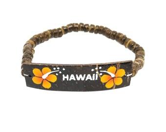 Hawaiian Jewelry Handmade Hibiscus Flower HAWAII Elastic Coconut Bead Bracelet from Maui, Hawaii