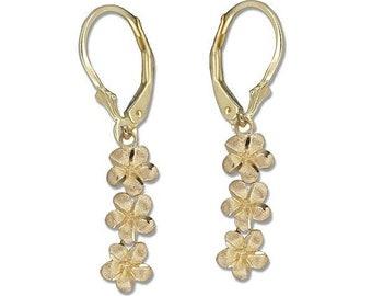 Hawaiian Heirloom Jewelry 14 Karat Yellow Gold 3 Dangling Plumeria Flower Lever Back Earrings from Maui, Hawaii