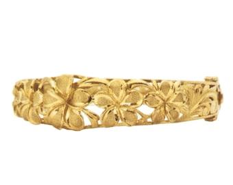 Hawaiian Heirloom Jewelry 14K Yellow Gold Bangle 5 Plumeria Flower Bracelet with Open Close Hinge